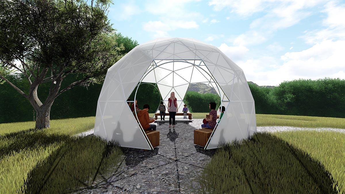 כיפת גן דגם לייט-ספייס - אקודום כיפה גאודזית מוגנת שמש