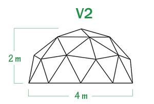 שלד כיפה גאודזית V2 קוטר 4 מ