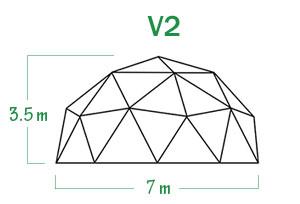 שלד כיפה גאודזית V2 קוטר 7 מ