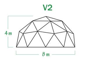 שלד כיפה גאודזית V2 קוטר 8 מ