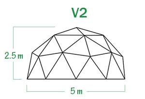 שלד של כיפה גאודזית V2 קוטר 5 מ
