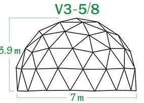 V3-5-8 קיט שלד כיפה גאודזית קוטר 7 מ
