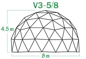 V3-5-8 קיט שלד כיפה גאודזית קוטר 8 מ